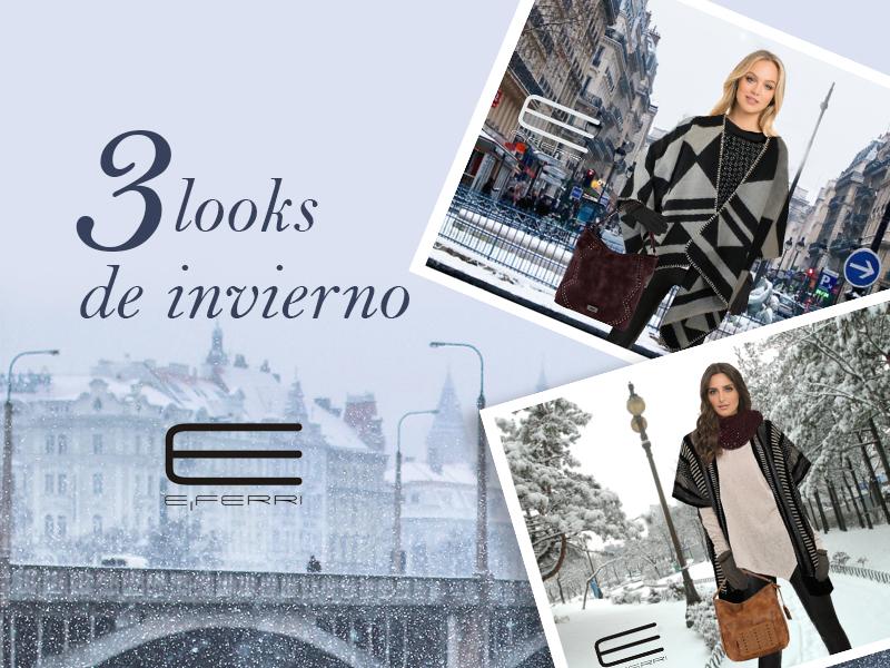 3 looks de invierno con ponchos,bolsos y complementos de E.Ferri