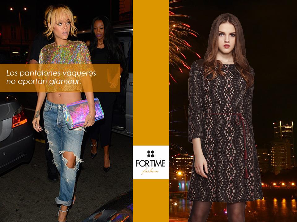Rihanna con jeans y modelo con vestido de FOR TIME