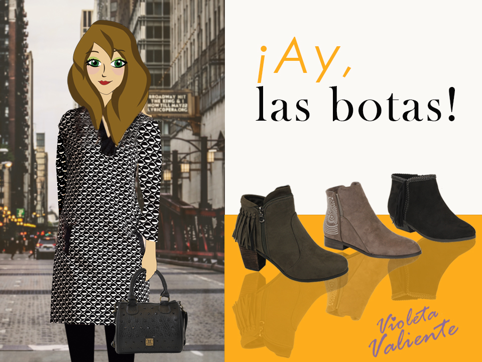 la fashion blogger Violeta Valiente con vestido y botas de FOR TIME