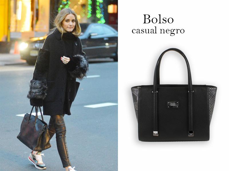 streetstyle de Olivia Palerma con bolso negro