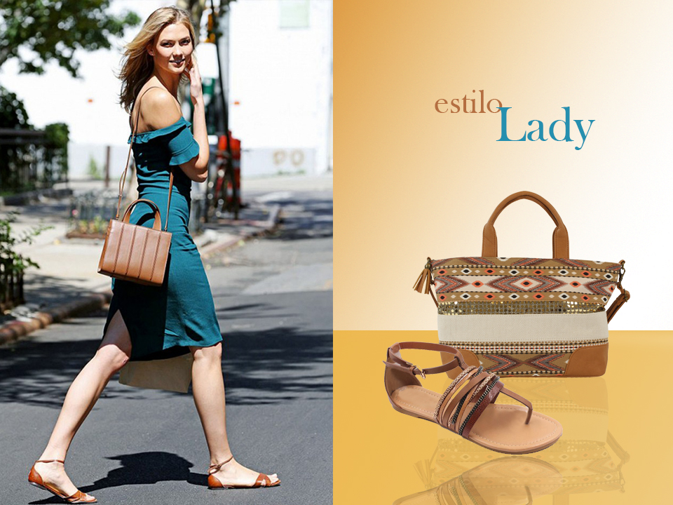 Karlie Kloss y sandalia y bolso marrón de FOR TIME