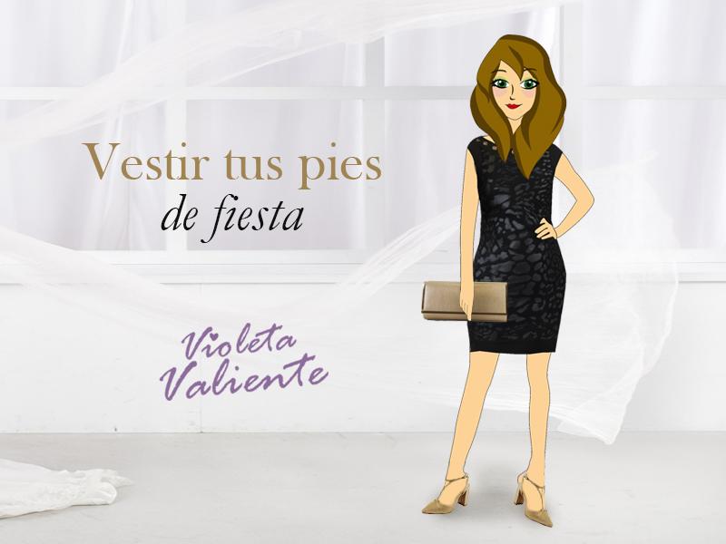 La fashion blogger Violeta Valienta con vestido, zapatos y bolso de mano de la colección Glamour de E.Ferri