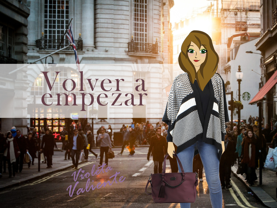 La fashion blogger Violeta Valiente con poncho y bolso de E.Ferri