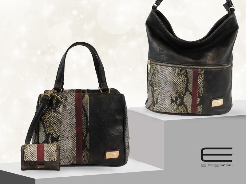 Bowling y bolso shopping de E.Ferri con print de pitón