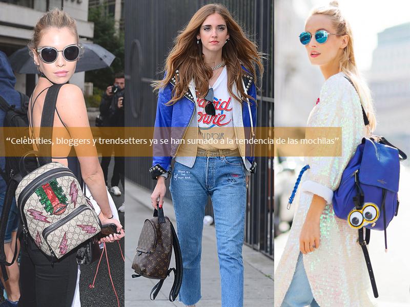 Chiara Ferragni, fashion bloggers, celebreties y trendsetters ya se han sumado a la tendencia de las mochilas