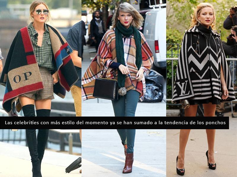 Olivia Palermo, Taylor Swift y Kate Hudson se han sumado a la tendencia de los ponchos y capas