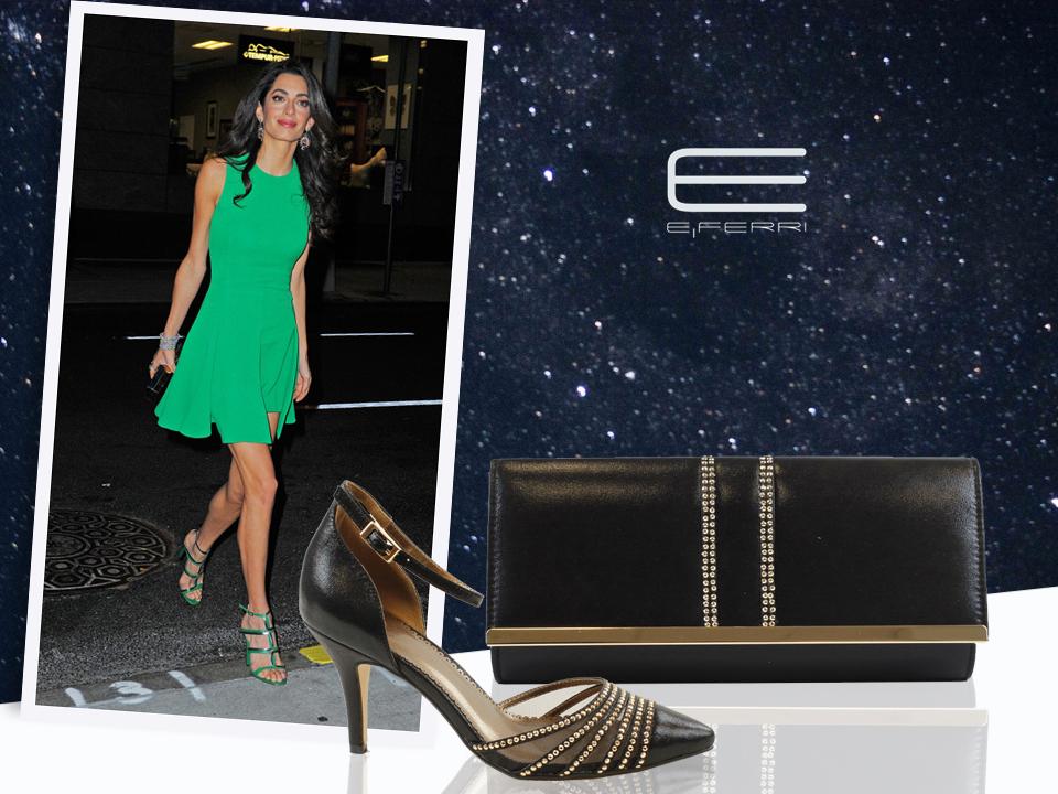 Amal Clooney y bolso clutch y zapatos de la colección Glamour de E.Ferri