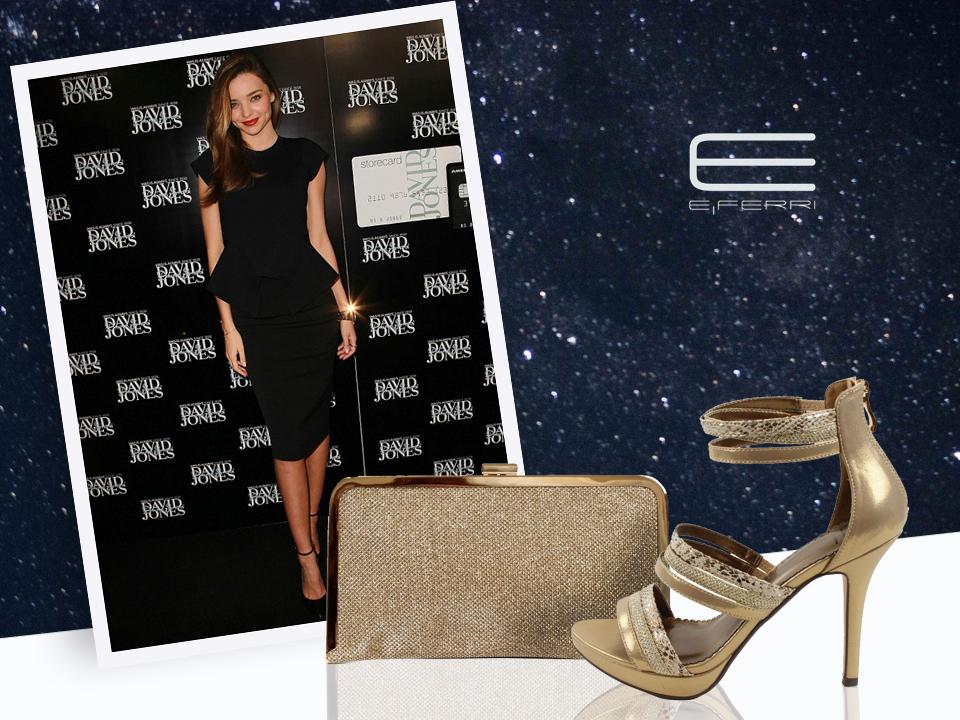 La top Miranda Kerr y zapatos y clutch dorado de E.Ferri
