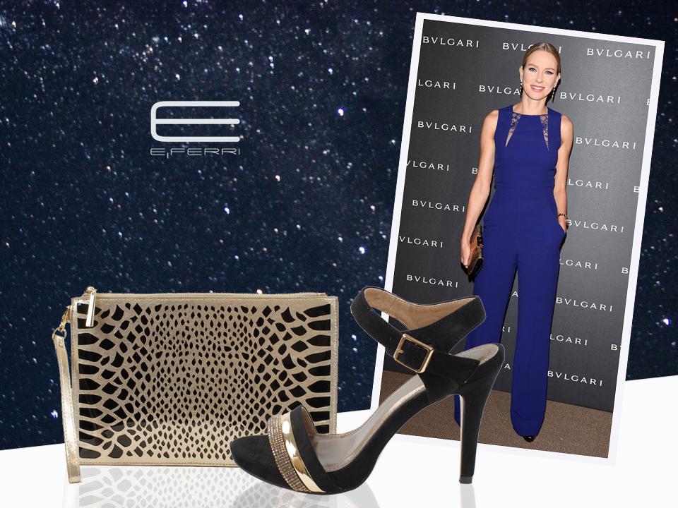 La actriz Diane Kruger y bolso clutch y zapatos Glamour de E.Ferri