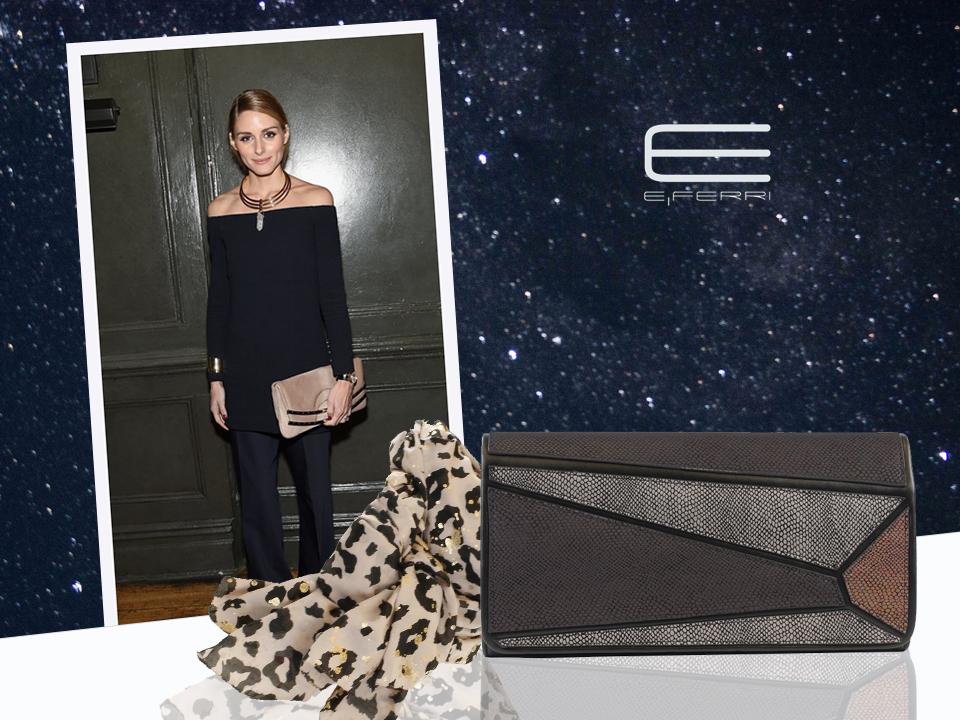 La it girl Olivia Palermo con pañuelo y bolso clutch de E.Ferri