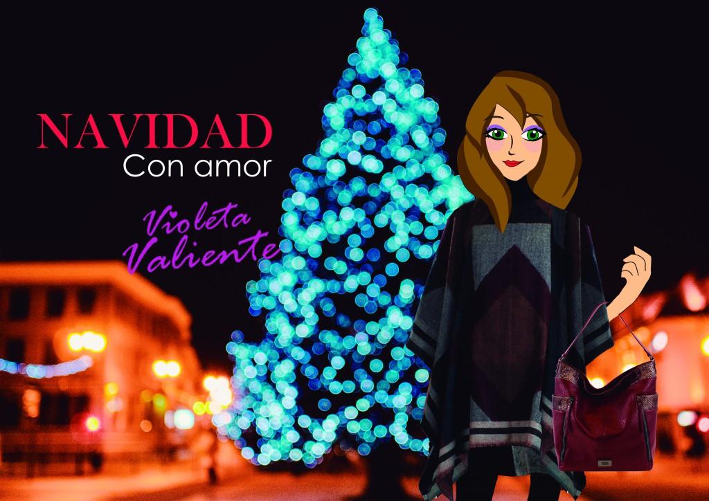 Violeta Valiente en Navidad con poncho y bolso de E.Ferri