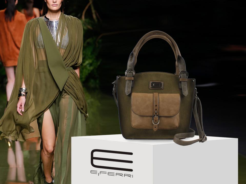 Bolso shopping color caqui de E.Ferri