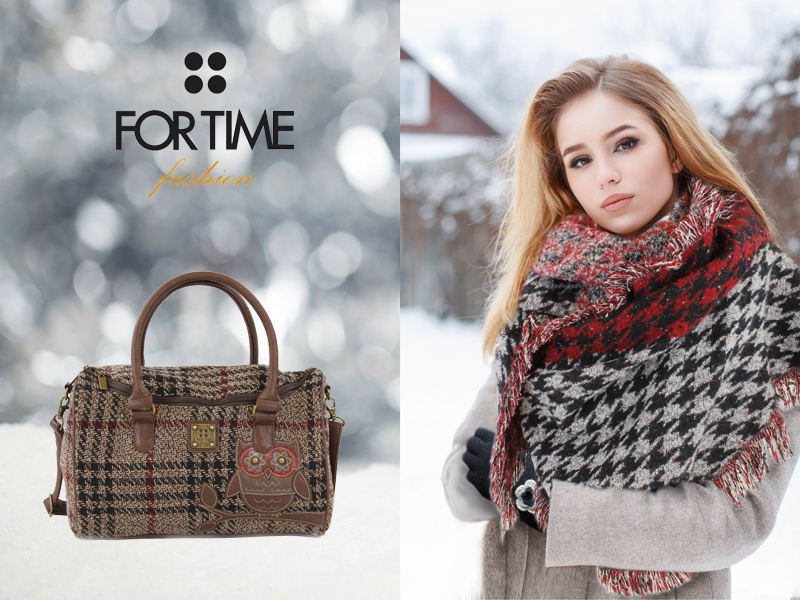 Foulard de lana y bolso estampado de FOR TIME