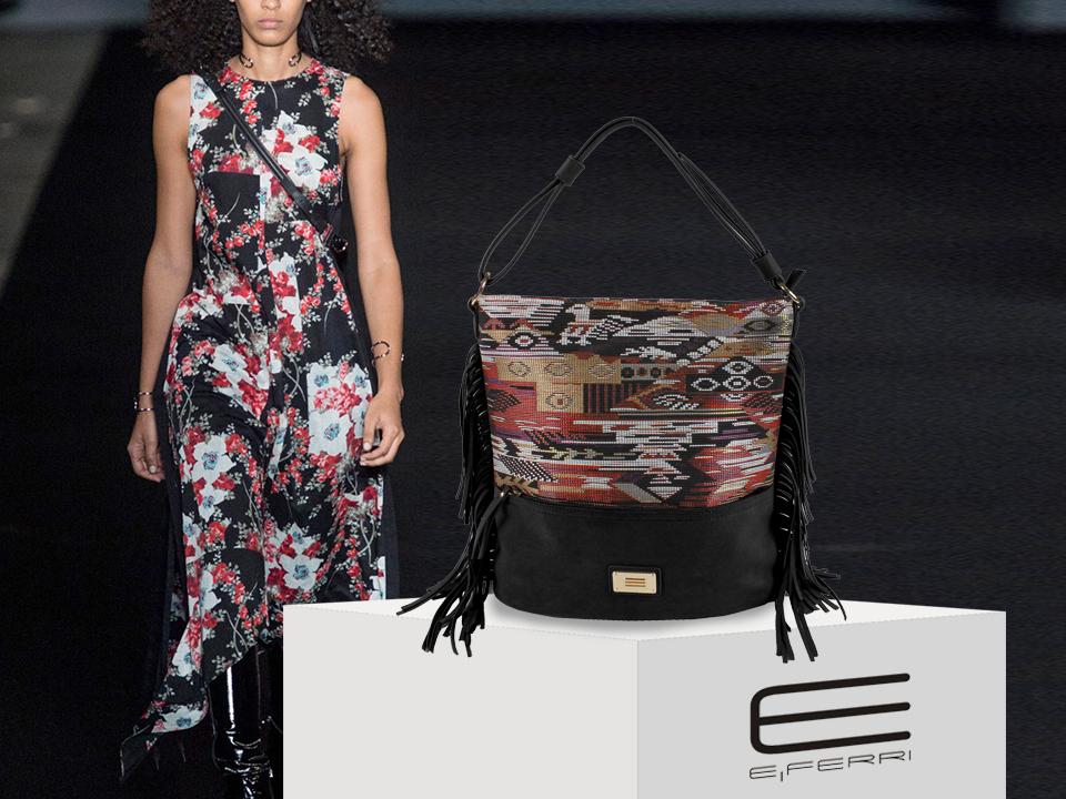 Bolso con aplicaciones bordadas de E.Ferri