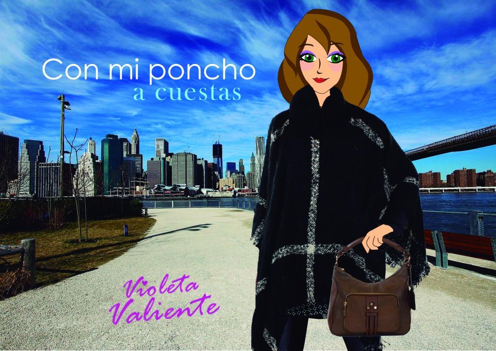 fashion blogger Violeta Valiente con poncho de E.Ferri