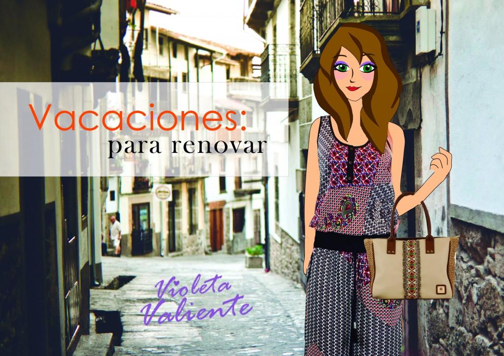 la fashionblogger Violeta Valiente con ropa y bolsa de FOR TIME