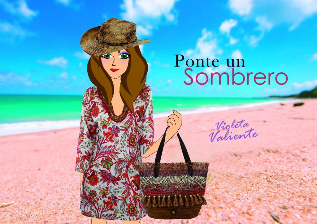 La fashionblogger Violeta Valiente con capazo,kaftán y sombrero de E.Ferri