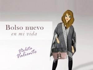 La fashionblogger Violeta Valiente con bolso y poncho de la nueva colección otoño invierno de E.Ferri