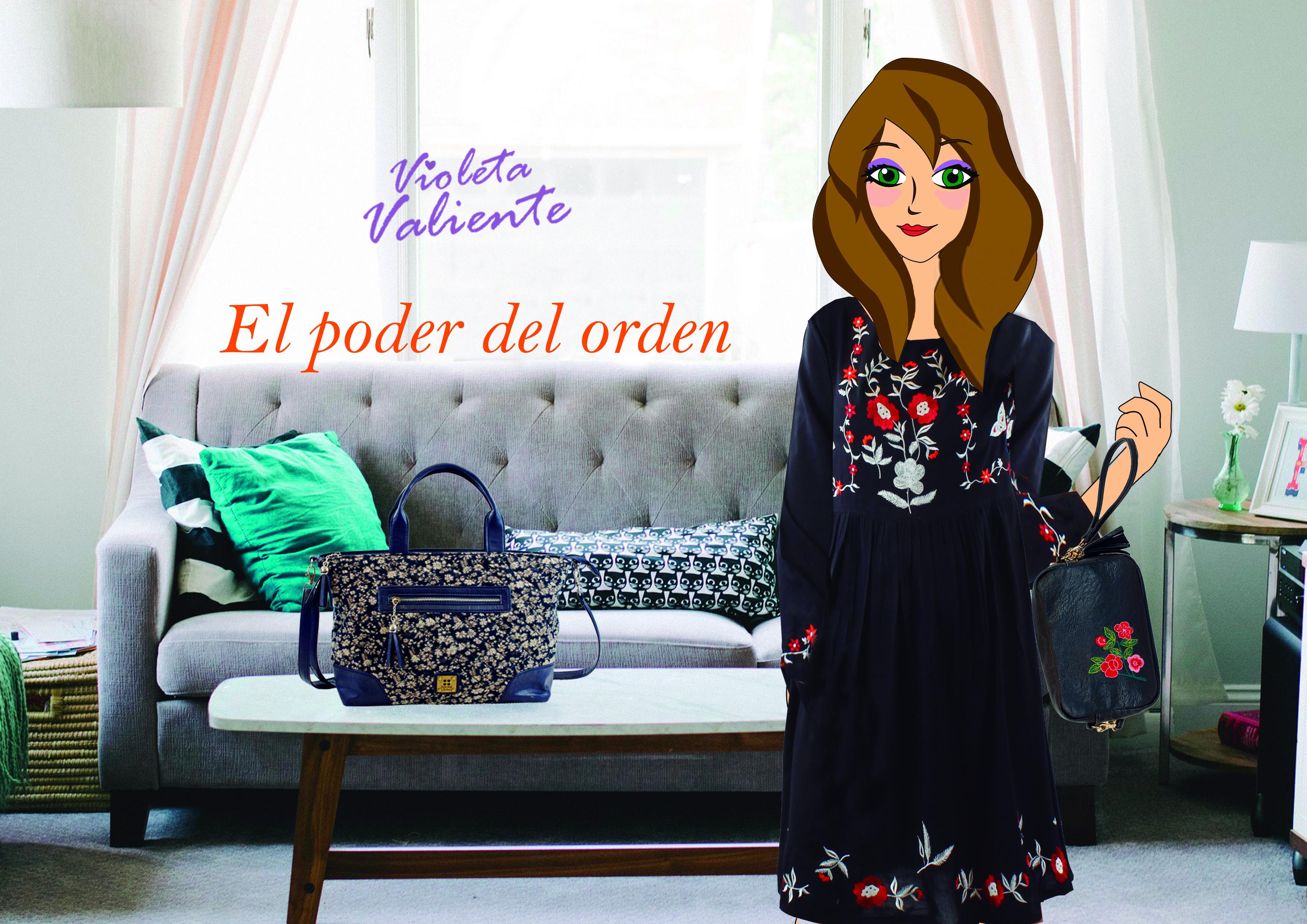 la fashion blogger Violeta Valiente con vestido y bolso de FOR TIME